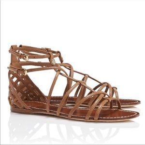 Tory Burch Brooke Tan Leather Gladiator Sandals